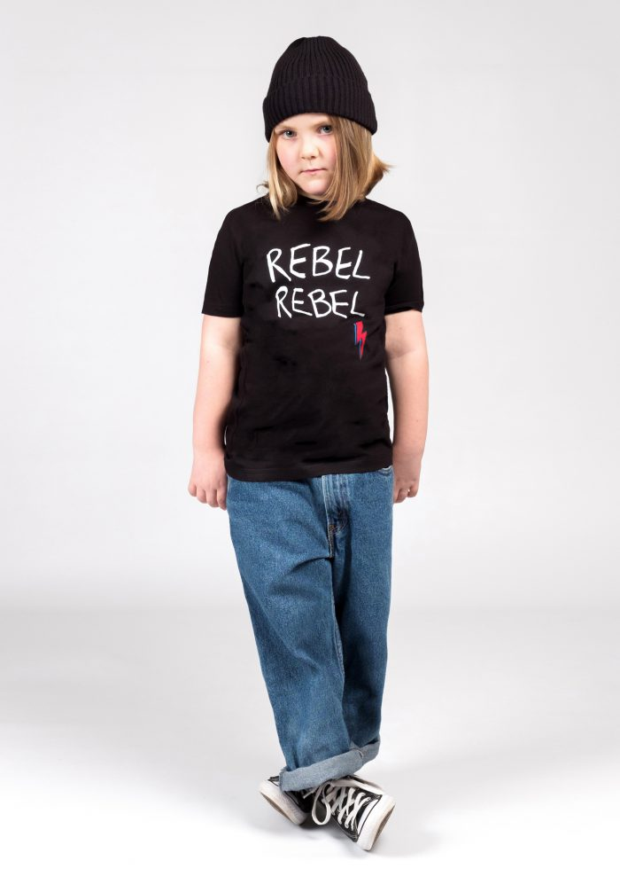 JUNIOR RAGS REBEL REBEL BLACK T-SHIRT