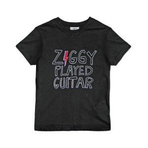 JUNIOR RAGS X DAVID BOWIE OFFICAL ZIGGY PLAYED GUITAR CHILDRENS ORGANIC COTTON BLACK T-SHIRT