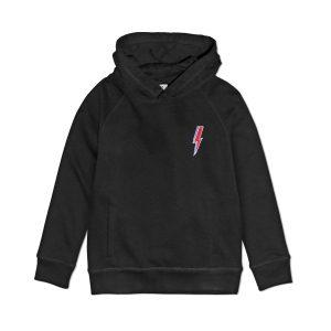 embroidered ziggy lightning premium organic cotton black hoodie sweatshirt