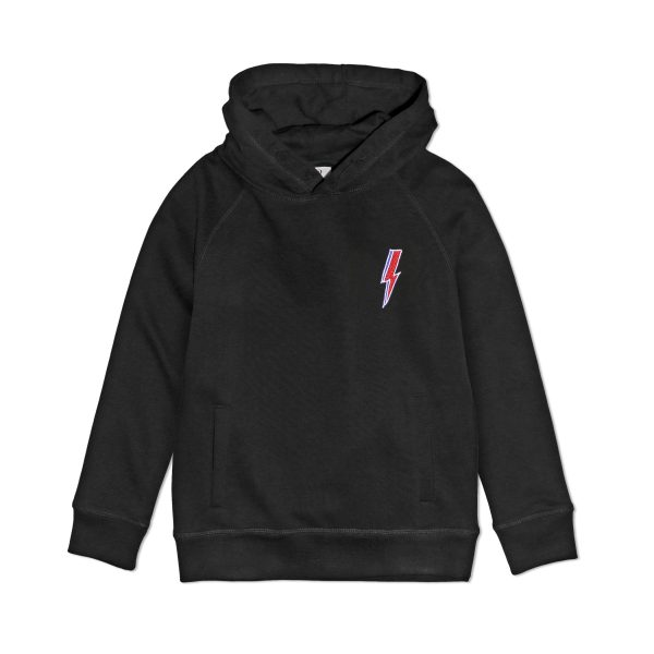 embroidered ziggy lightning premium organic cotton black hoodie sweatshirt