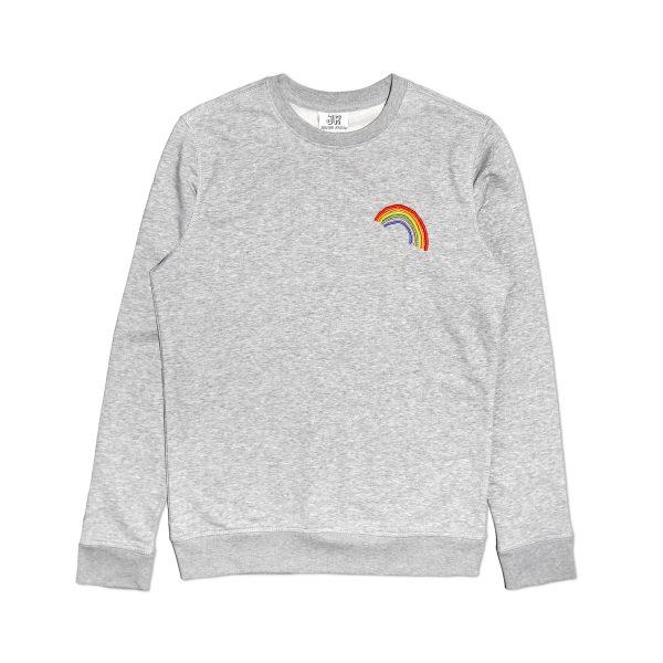embroidered rainbow premium organic cotton grey sweatshirt