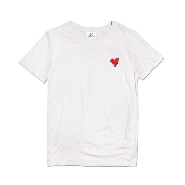 embroidered heart premium organic cotton cream T-shirt