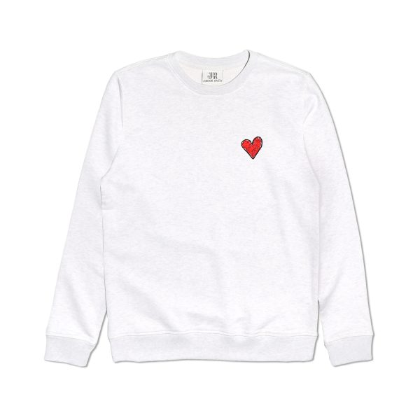EMBROIDERED HEART PREMIUM ORGANIC COTTON CREAM SWEATSHIRT