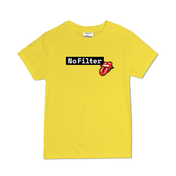 JUNIOR RAGS X THE ROLLING STONES OFFICIAL NO FILTER TOUR CHILDRENS ORGANIC COTTON YELLOW T-SHIRT