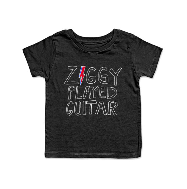 JUNIOR RAGS X DAVID BOWIE OFFICIAL ZIGGY PLAYED GUITAR BLACK BABY T-SHIRT
