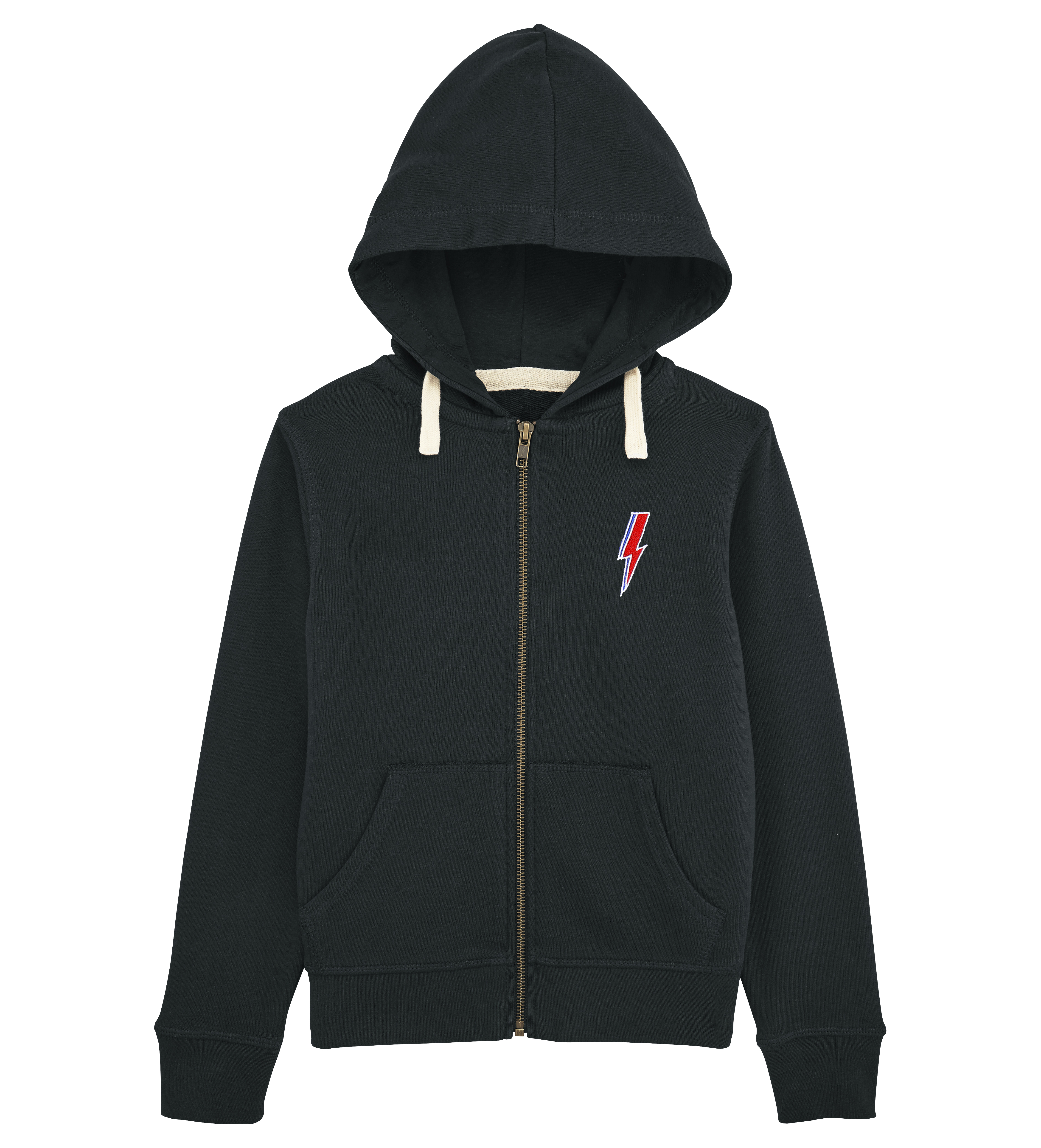 JUNIOR RAGS X DAVID BOWIE OFFICIAL ZIP THROUGH HOODED SWEATSHIRT BLACK ORGANIC COTTON